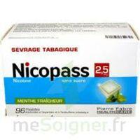 Nicopass 2,5 mg Pastille menthe fraîcheur sans sucre Plq/96 à CANEJAN