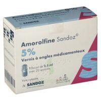 Amorolfine Sandoz 5 % V Ongles Médicamenteux Fl/2,5ml+20spatules à CANEJAN